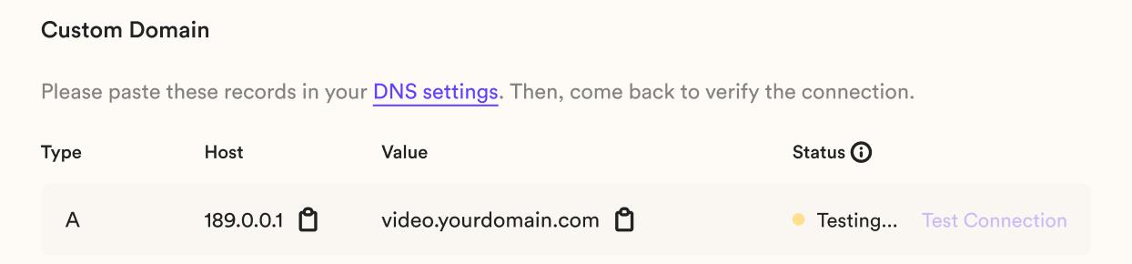 Add CNAME to DNS Settings